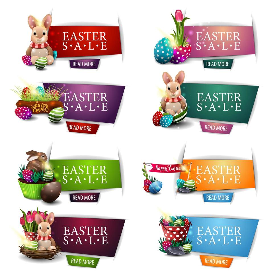 raccolta di striscioni colorati sconto di Pasqua vettore