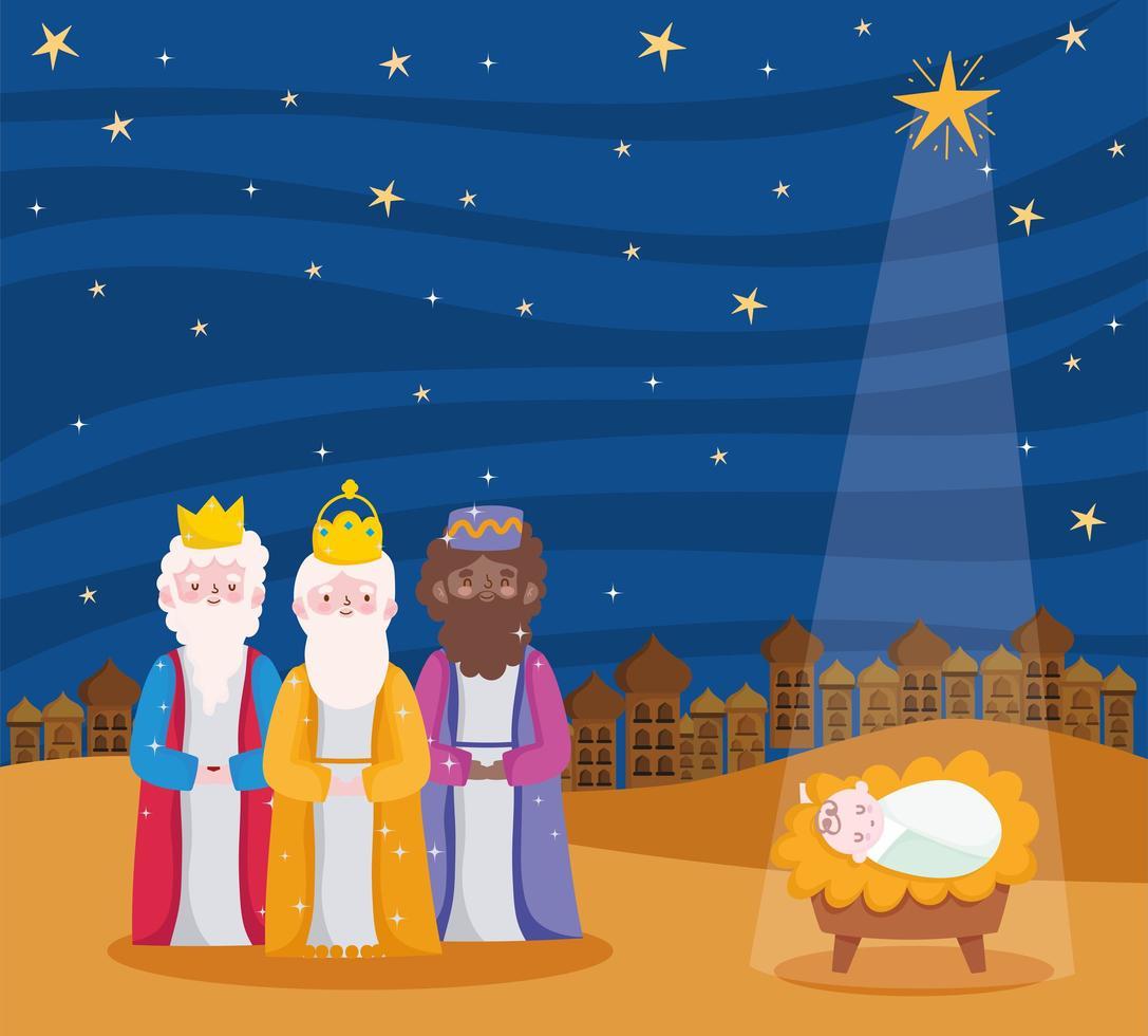 buon natale e banner della natività con i magi biblici vettore