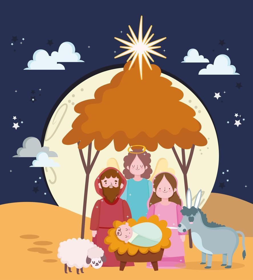 buon natale e banner presepe con sacra famiglia vettore