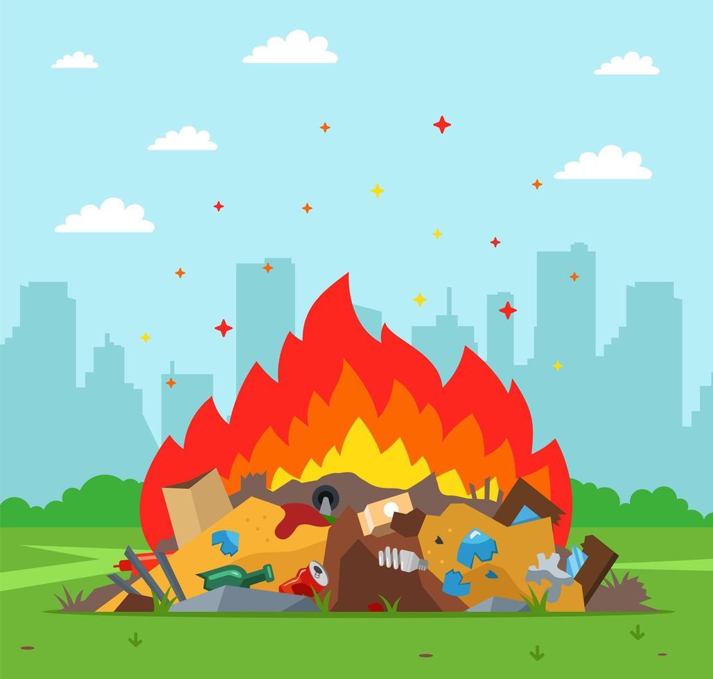 discarica di rifiuti in fiamme con la città sullo sfondo vettore