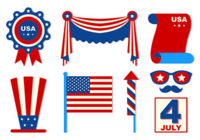 Set di icone del giorno dell'indipendenza vettore
