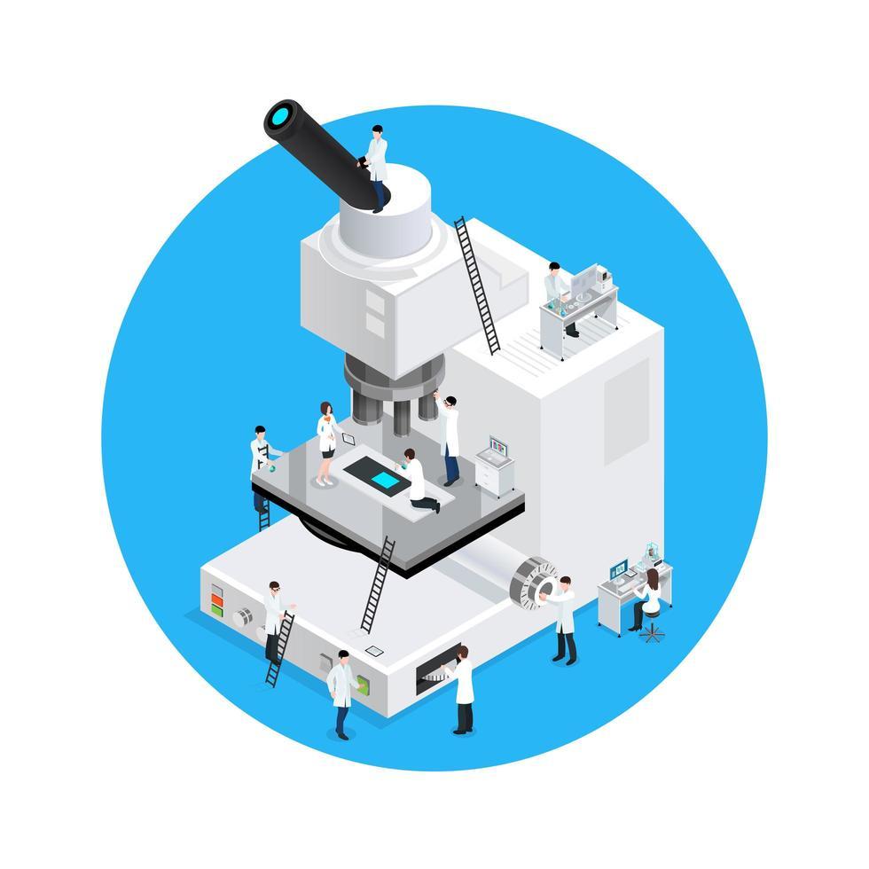 microscopio bianco isometrico e scienziati vettore