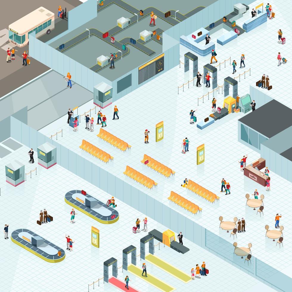 zone aeroportuali isometriche vettore