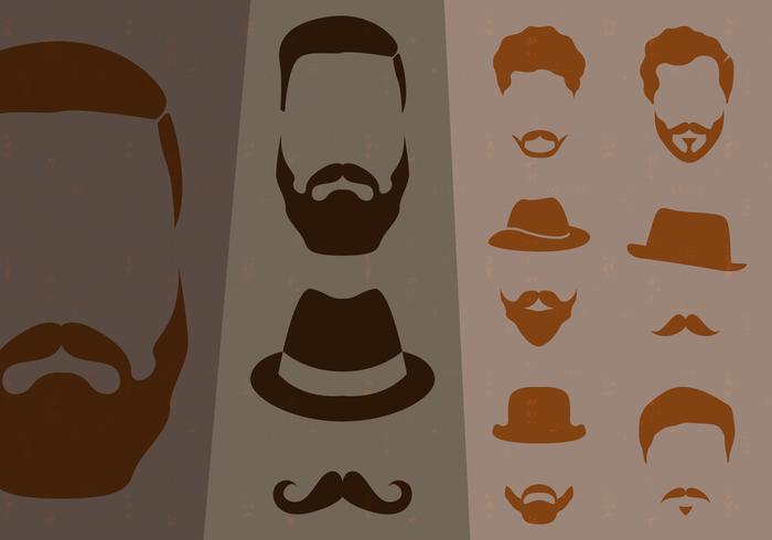 Collezione di baffi stile hipster vettore