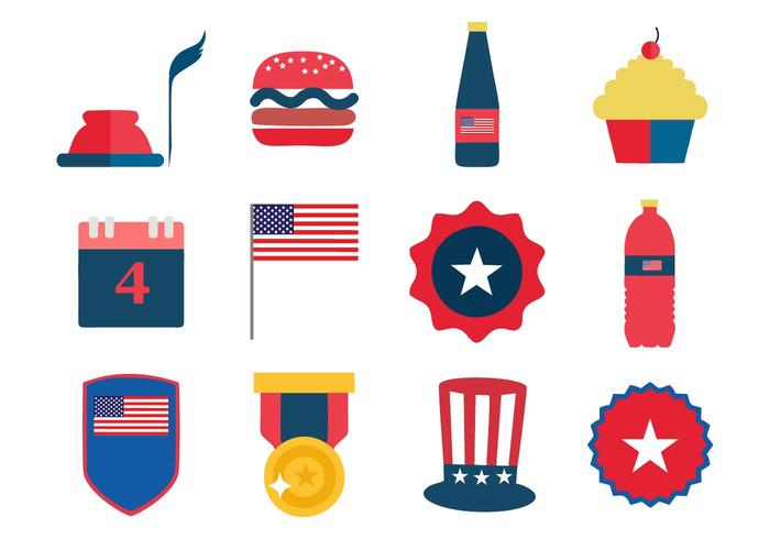 Independence Day 4th July Icons Vector