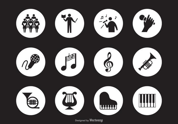 Icone nere di vettore della siluetta di prestazione musicale