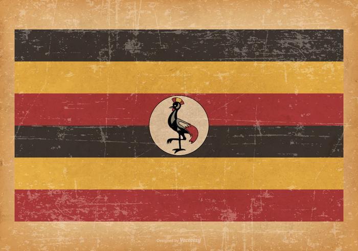 Vecchia bandiera grunge dell'Uganda vettore
