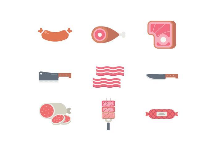 Set di icone di prodotti a base di carne vettore