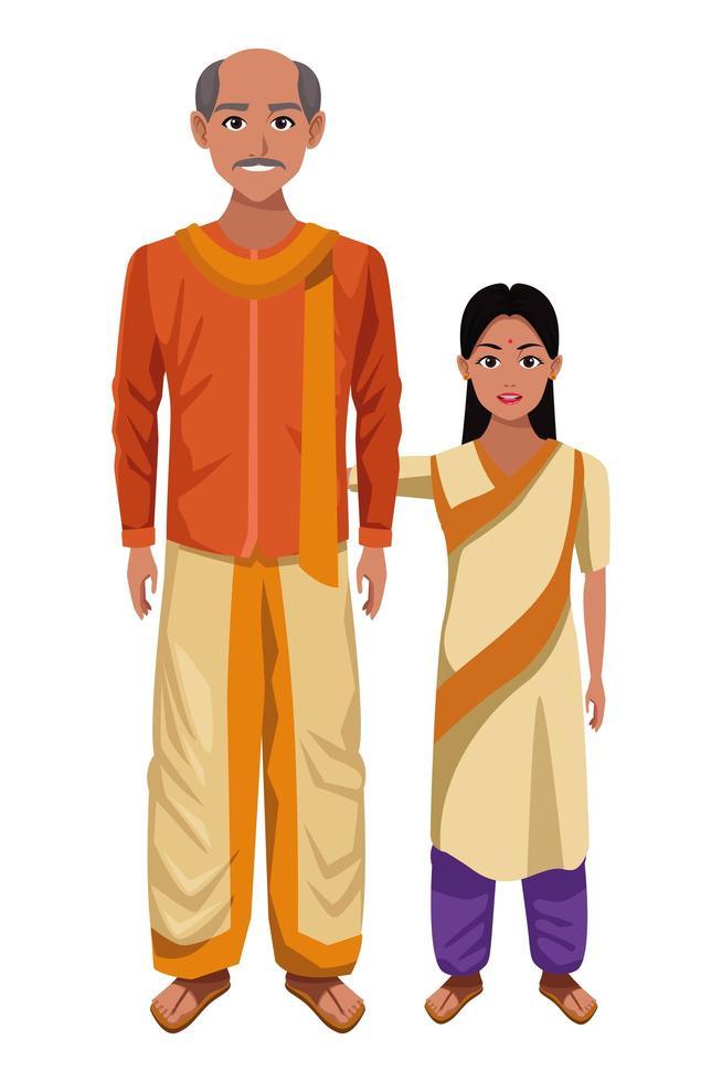personaggi dei cartoni animati della famiglia indiana vettore