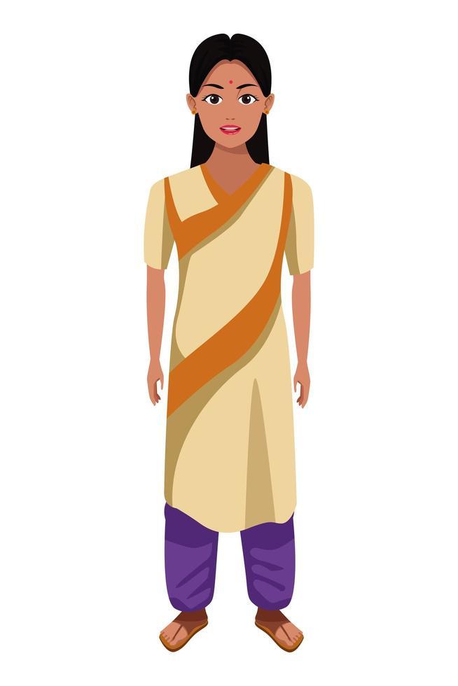 ragazza indiana che indossa abiti tradizionali indù vettore