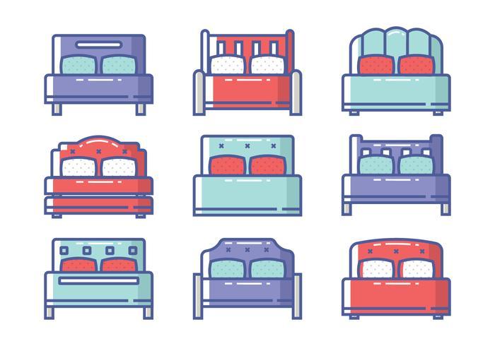 Set di icone del letto vettore