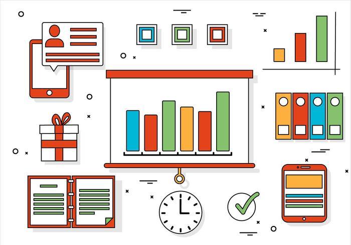 Elementi di Office vettoriali gratis Design piatto