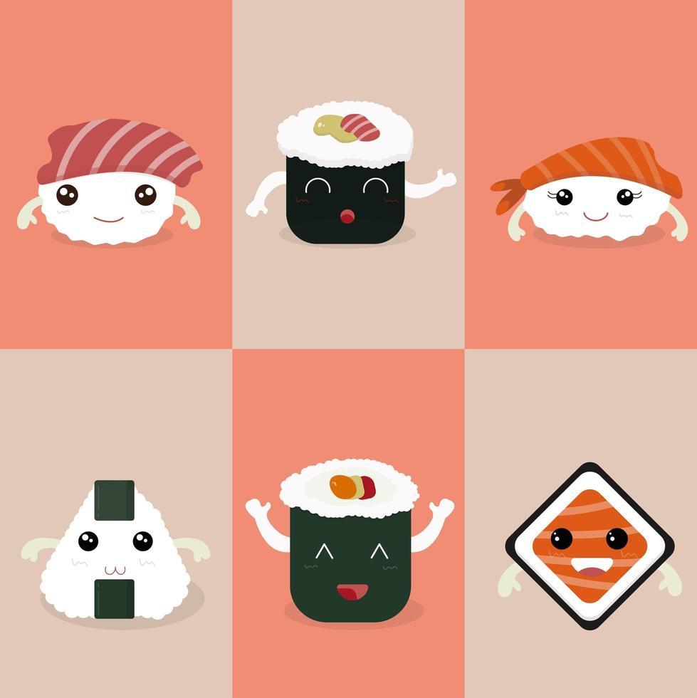 set di caratteri sushi kawaii vettore