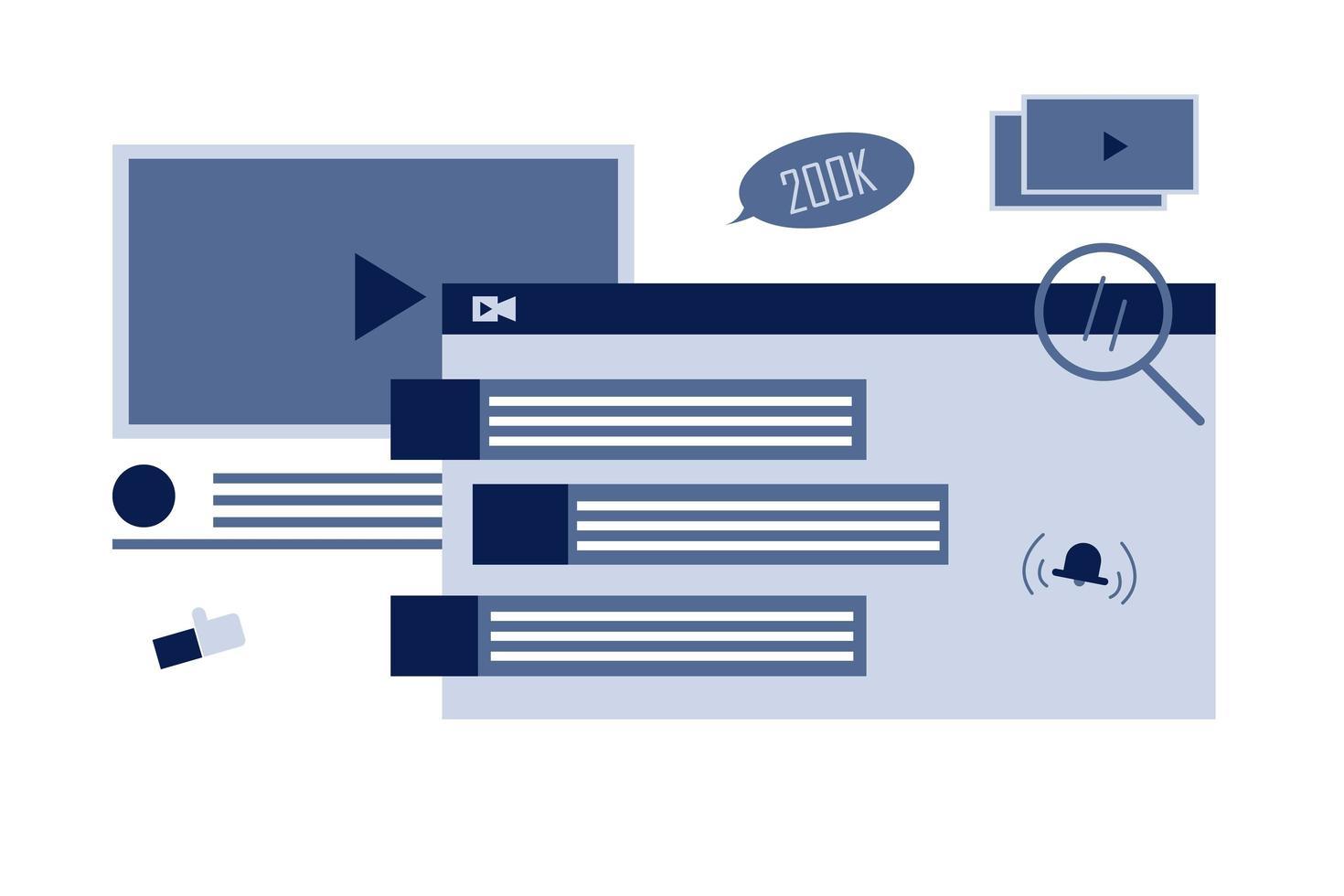 progettazione di consigli video online vettore