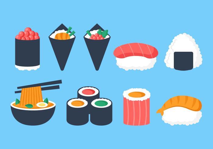 Vettore di raccolta cibo giapponese gratuito