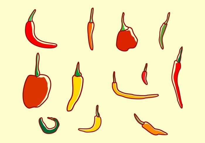 Set di Chili Peppers vettore