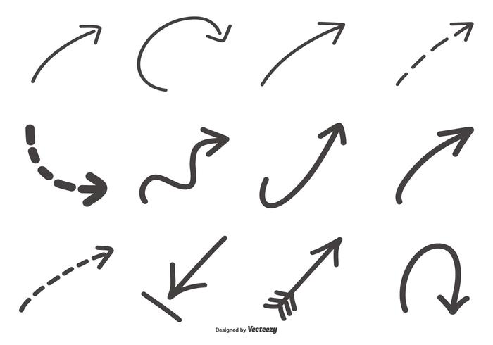 Collezione di frecce disegnate a mano vettore
