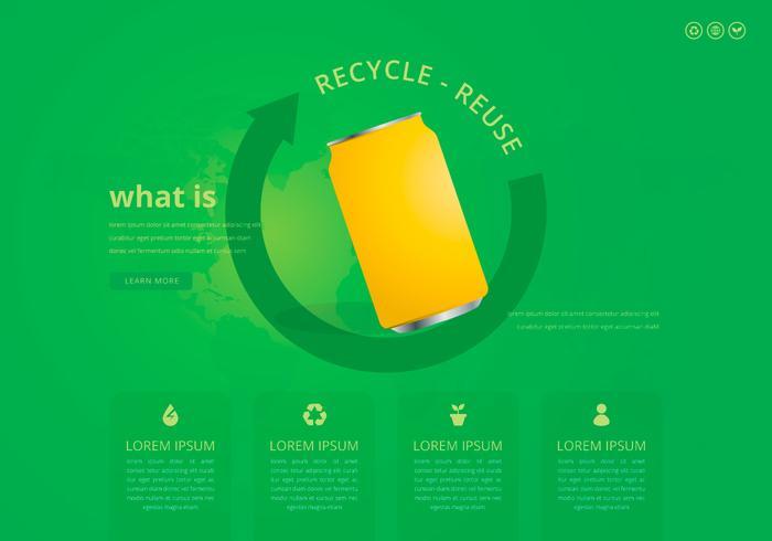 Ricicla e riutilizza la scatola di latta e altri rifiuti vettore