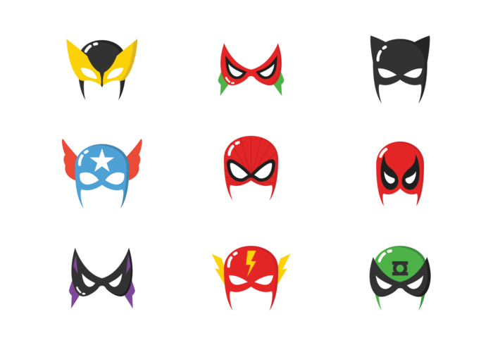 Maschere di Supereroi vettore