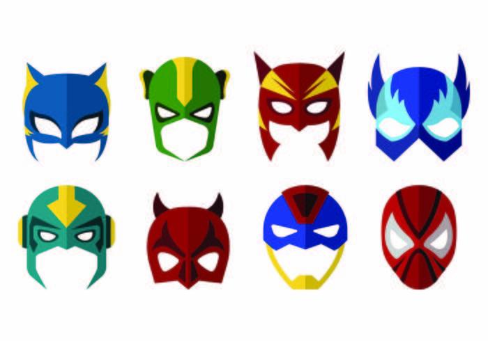 Vettore di maschere di supereroi