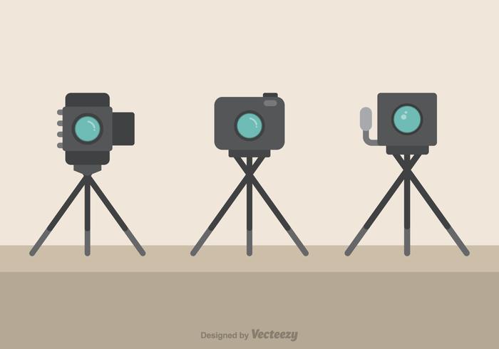 Macchine fotografiche sui treppiedi Icone piane di vettore