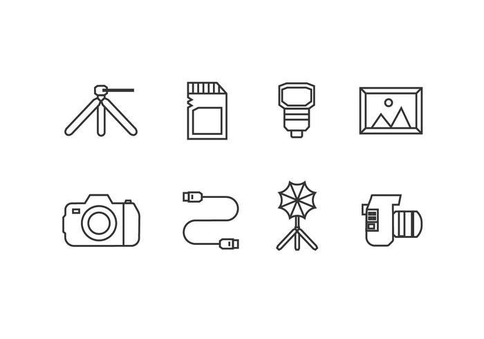 Icone dello strumento fotografico vettore