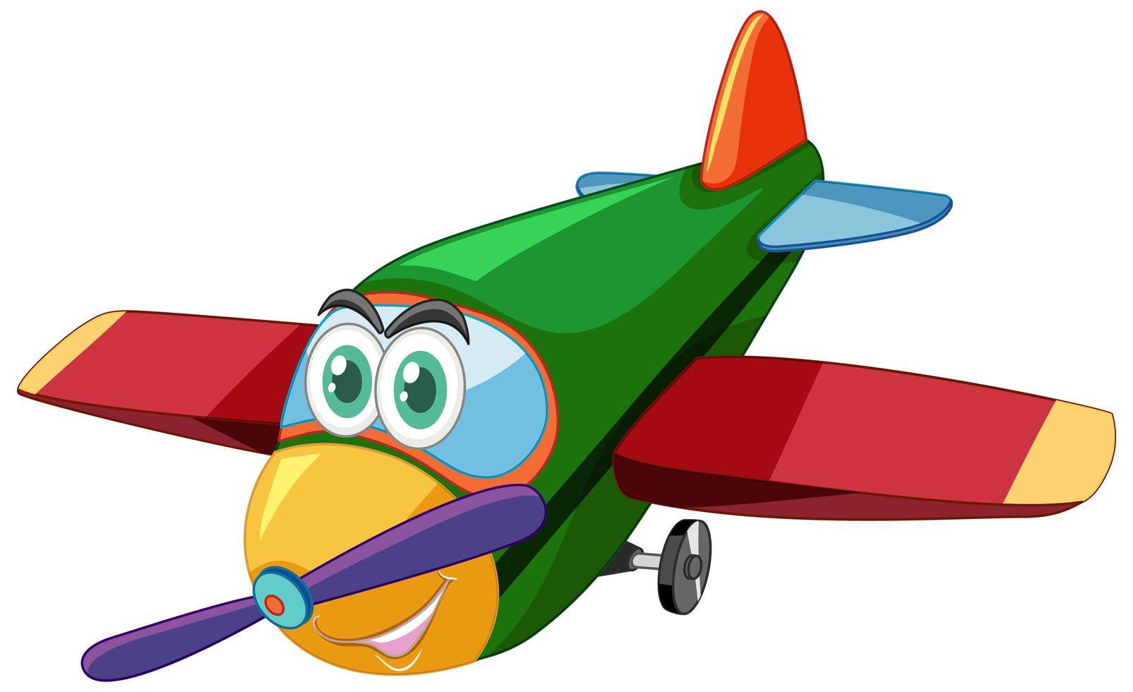 personaggio dei cartoni animati di aeroplano con grandi occhi isolati vettore