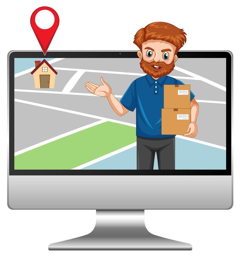 consegnare o corriere uomo in personaggio dei cartoni animati uniforme blu nel display del computer vettore