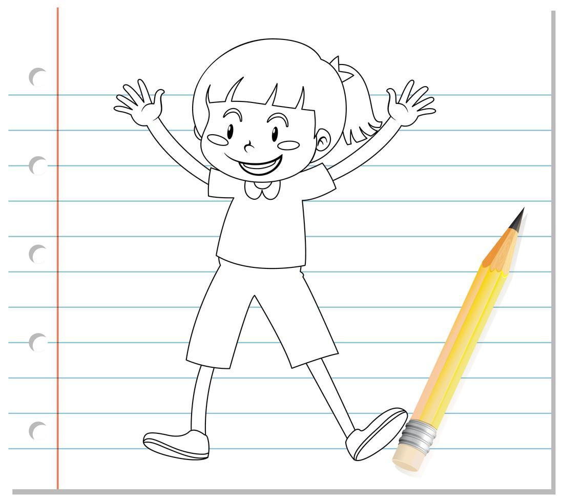 scrittura a mano di ragazza carina con contorno in posa allegra vettore