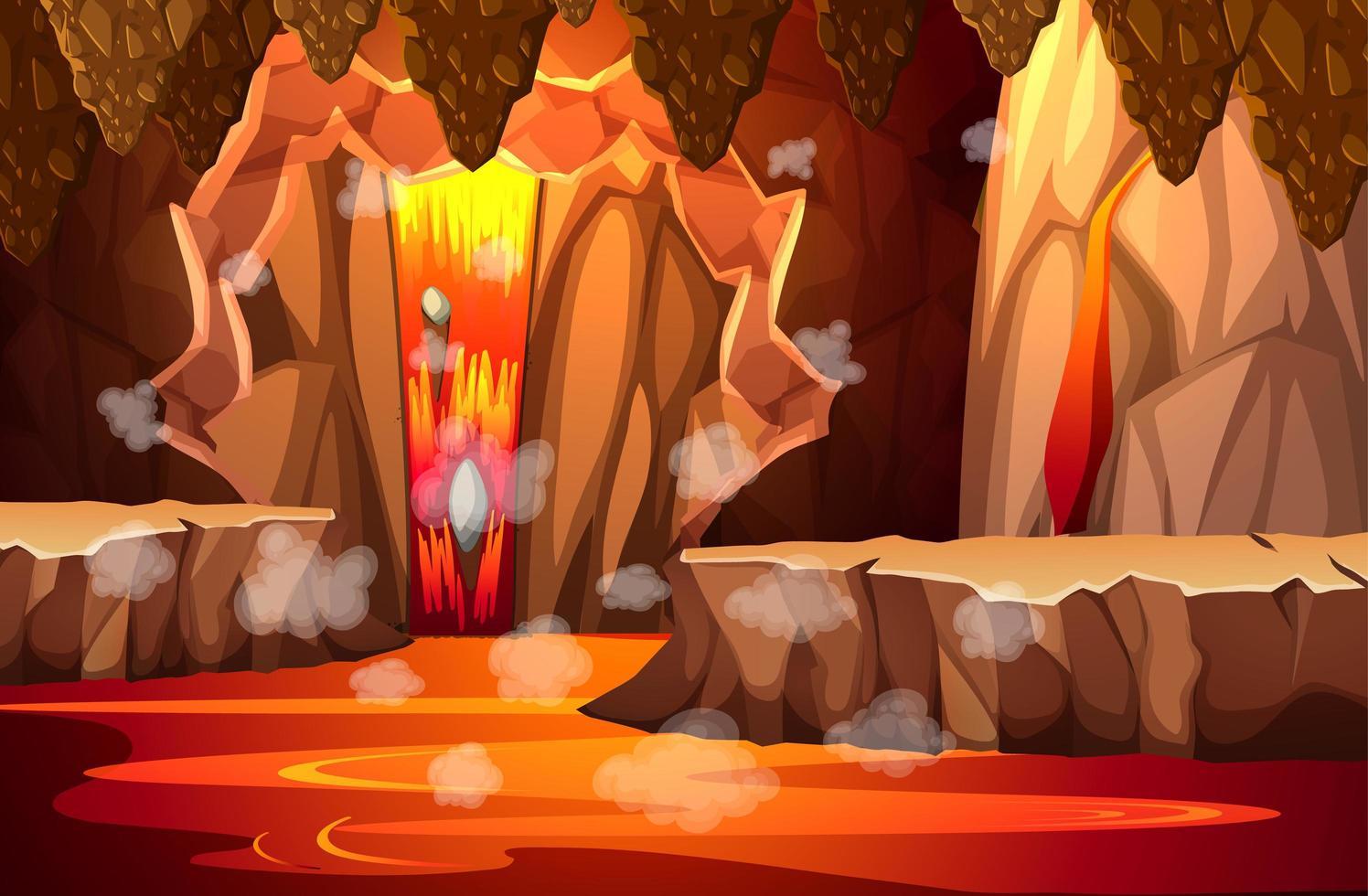caverna oscura infernale con scena di lava vettore