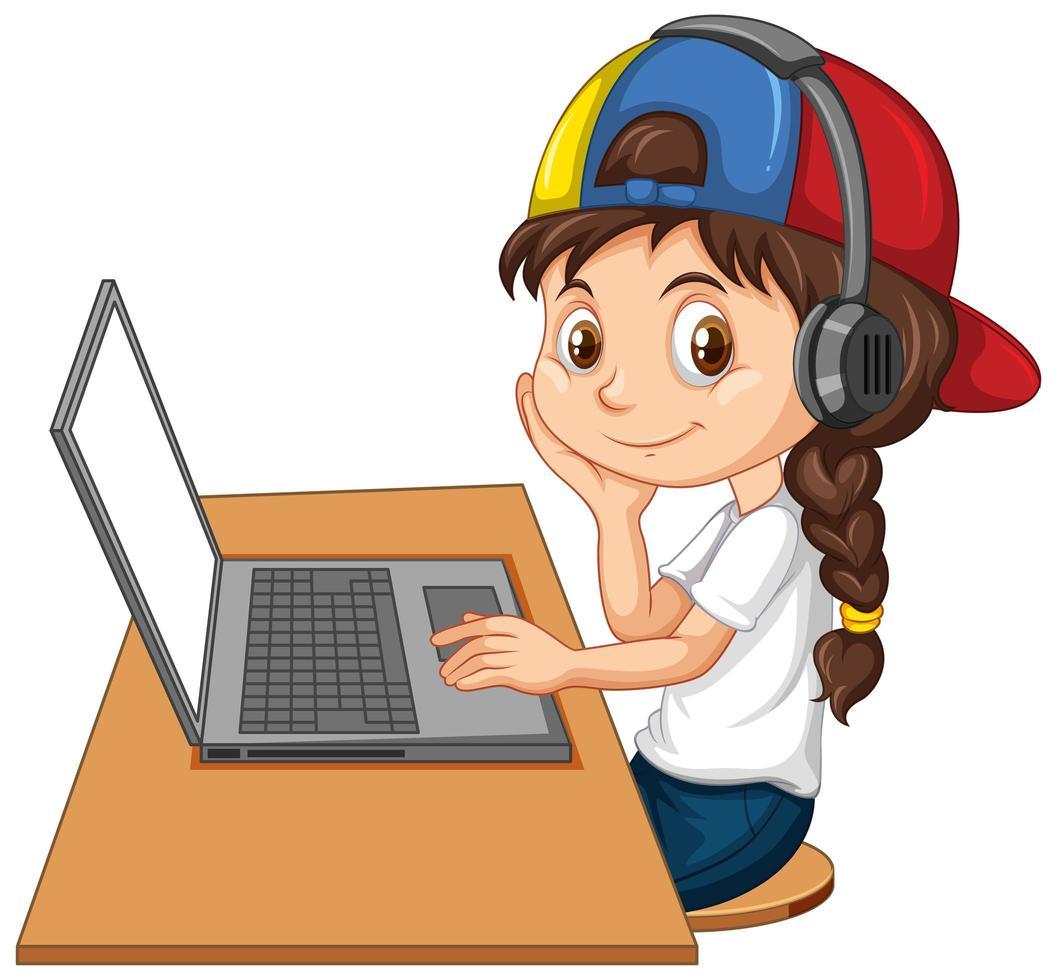una ragazza con il portatile sul tavolo su sfondo bianco vettore