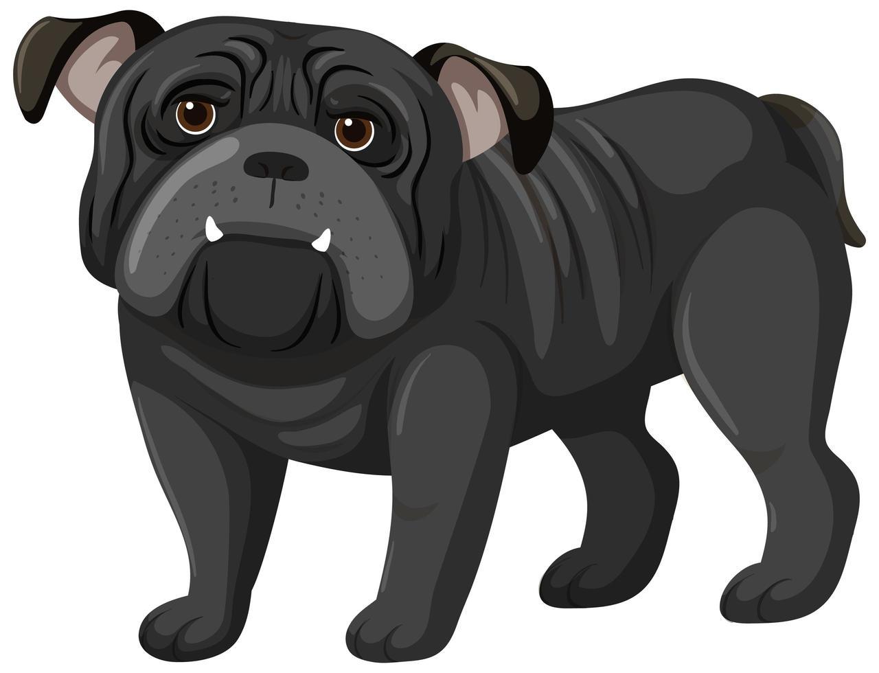 stile cartone animato boxer nero su sfondo bianco vettore