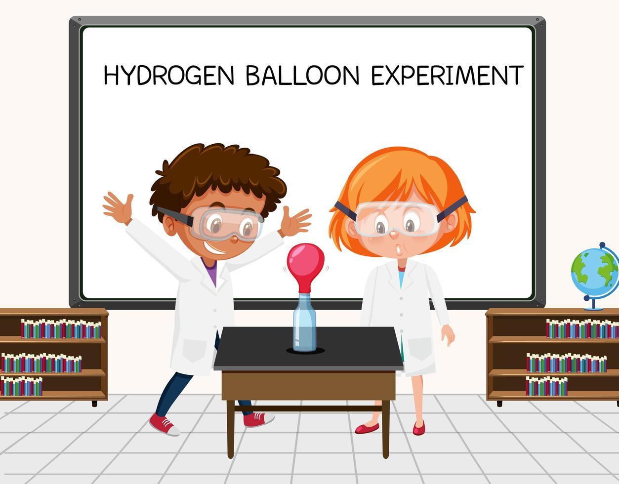 giovane scienziato che fa esperimento con palloncino a idrogeno davanti a una tavola in laboratorio vettore