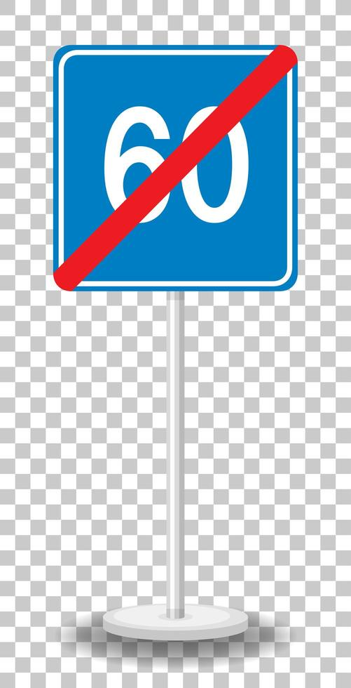 Segnale stradale di limite minimo di velocità blu 60 con supporto isolato su sfondo trasparente vettore