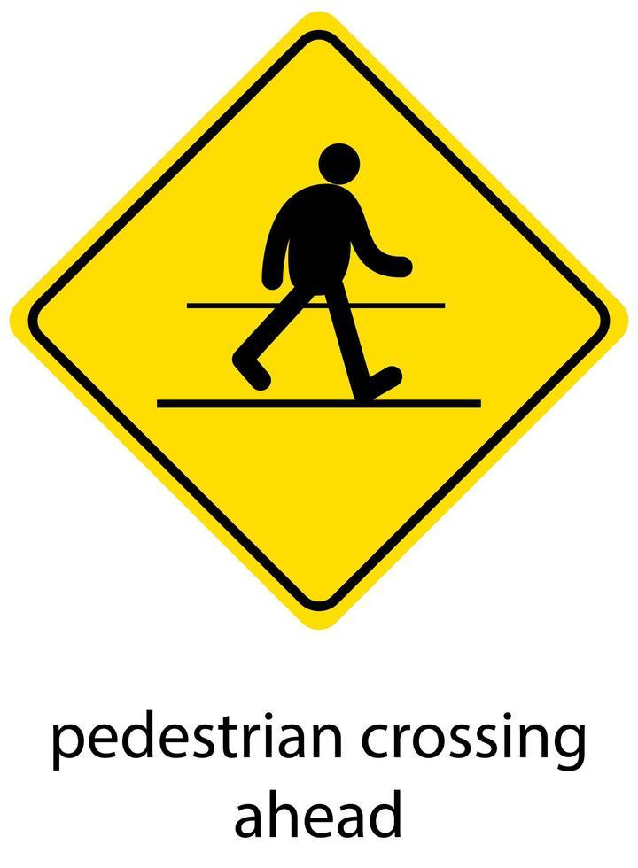 segnale di avvertimento traffico giallo su sfondo bianco vettore