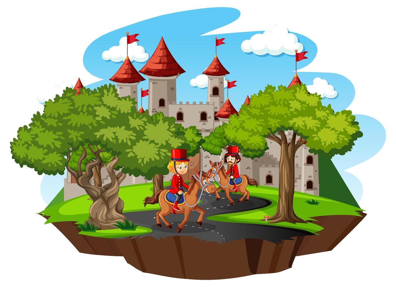 scena da favola con castello e guardia reale soldato su sfondo bianco vettore