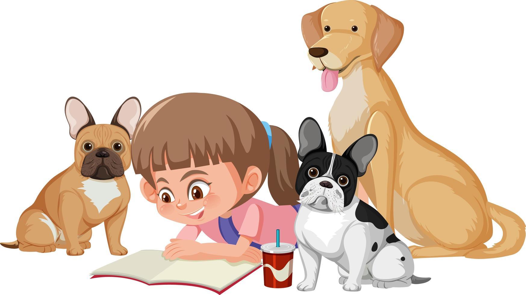 una ragazza che gioca con cani carini su sfondo bianco vettore