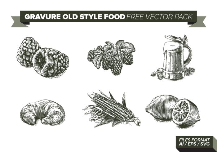 Pacchetto di vettore gratuito di Gravure Old Style Food