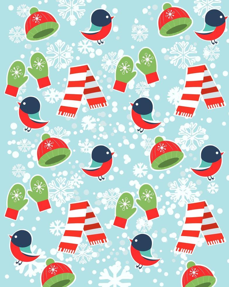 buon natale banner con uccelli, guanti, sciarpe e cappello vettore