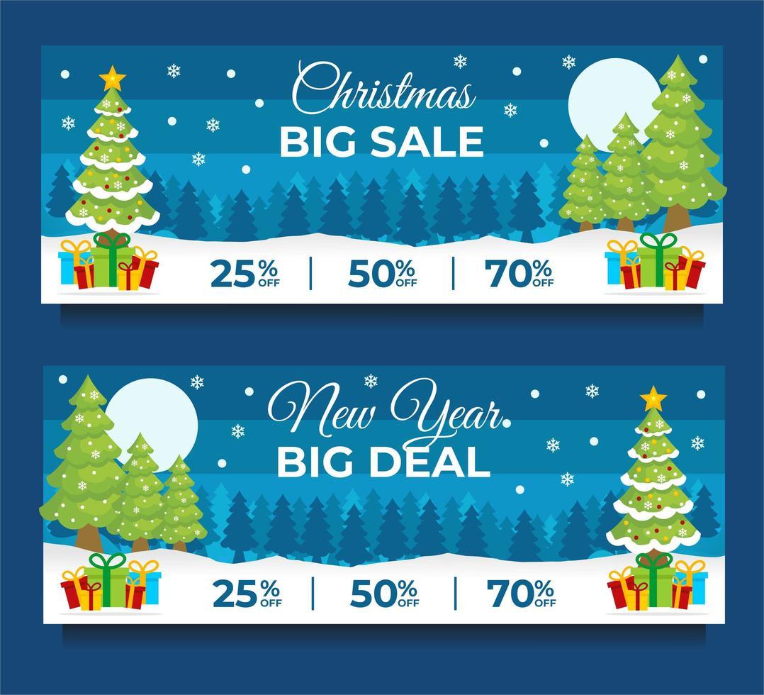modelli di banner di vendita di capodanno con scena invernale vettore