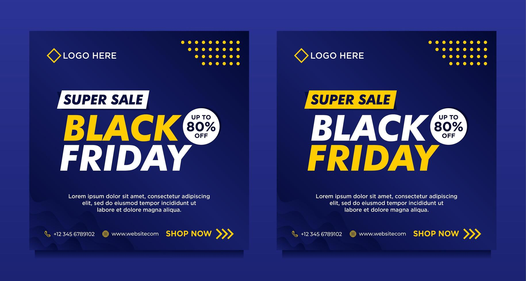 modelli di banner per social media in vendita venerdì nero blu vettore