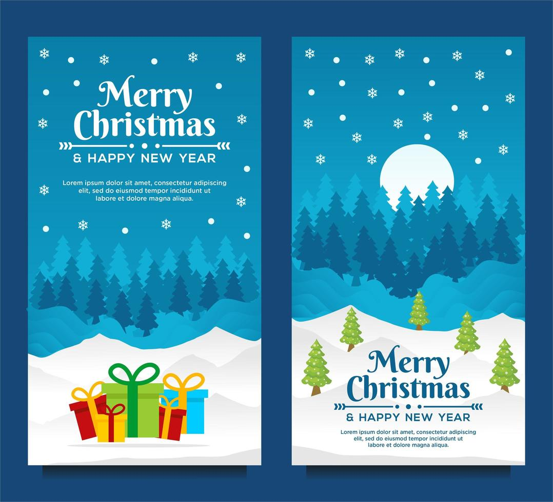 buon natale e felice anno nuovo modello di banner con albero di natale e sfondo blu vettore