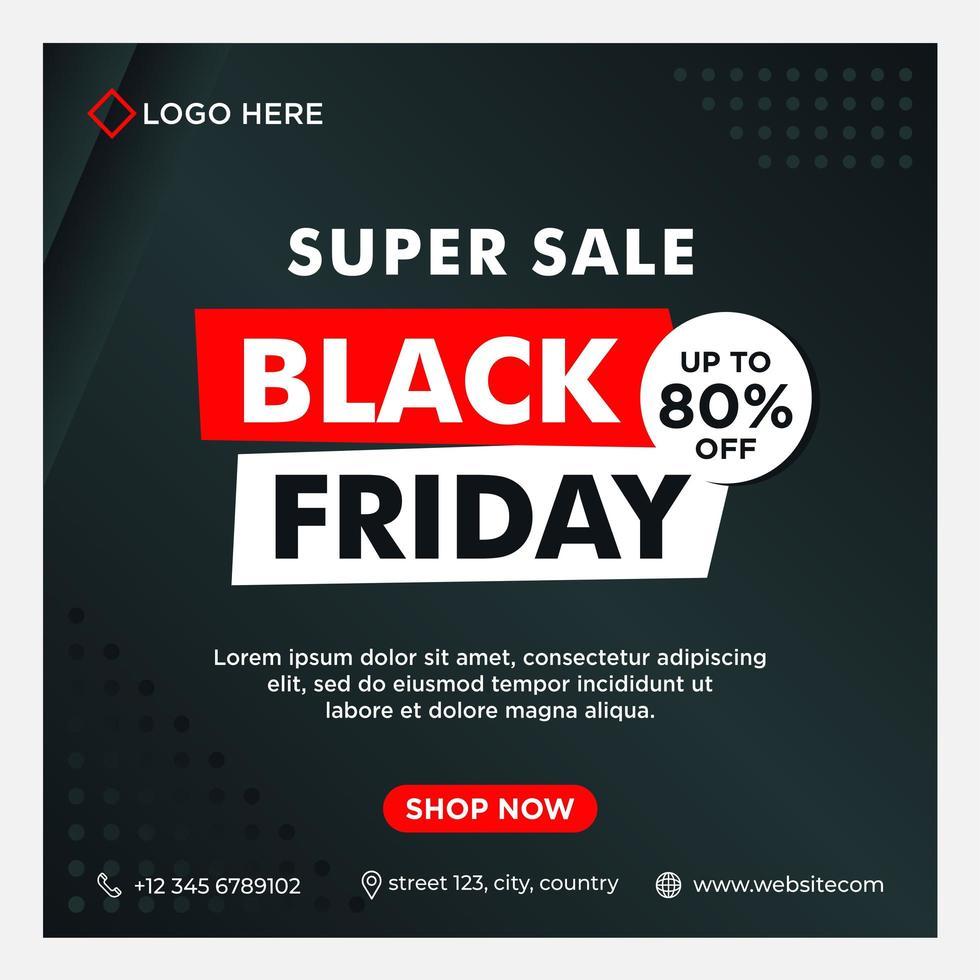 modello di social media di vendita venerdì nero nero, bianco, rosso vettore