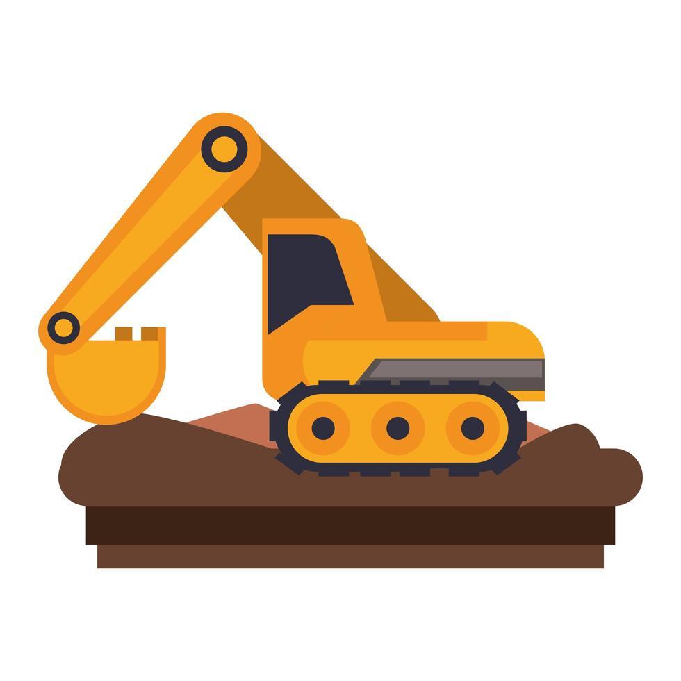 icona piana di veicoli e macchinari da costruzione vettore