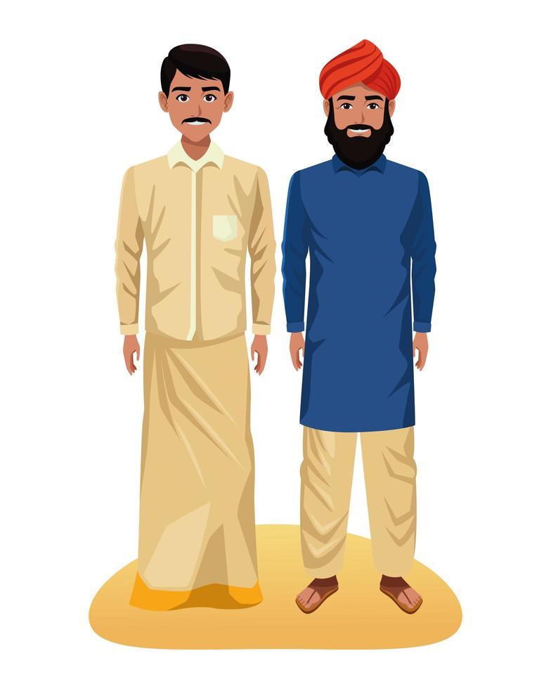 personaggi dei cartoni animati di uomini indiani vettore