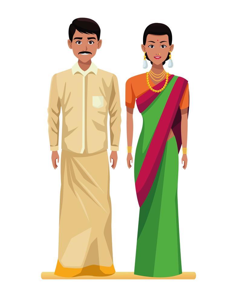 personaggi dei cartoni animati di coppia indiana vettore