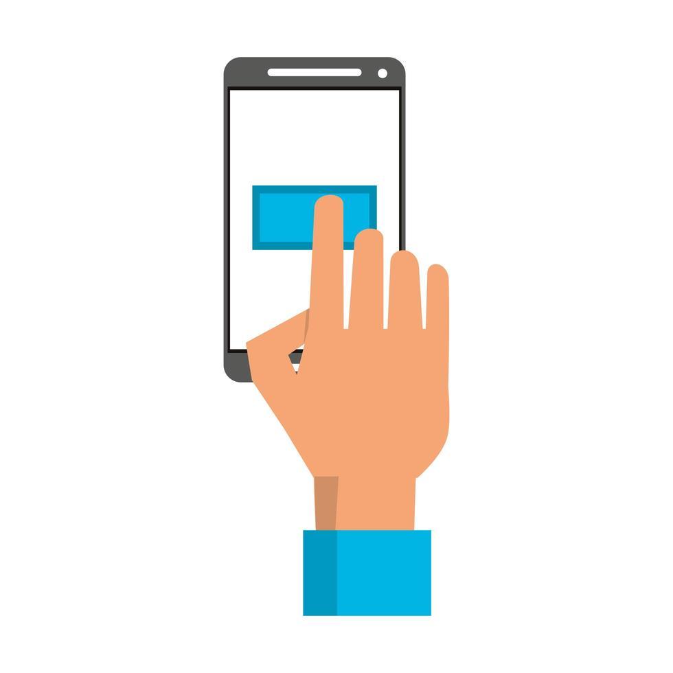 mano toccando il pulsante sullo schermo dello smartphone vettore