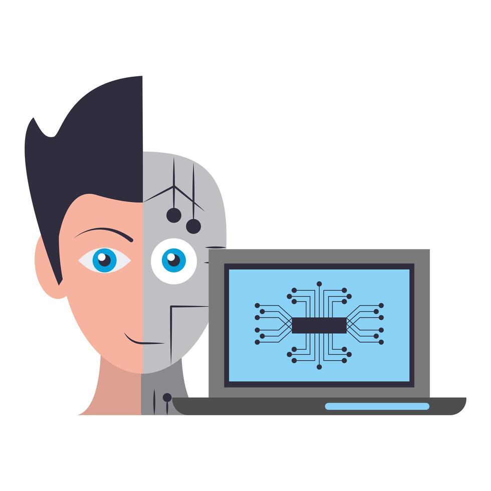 composizione del fumetto di concetto di intelligenza artificiale vettore