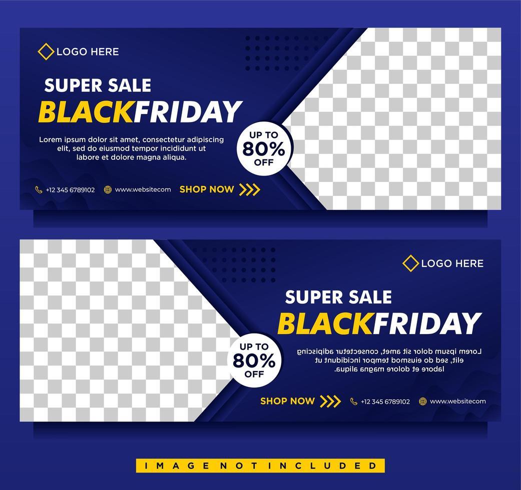 modelli di banner per social media in vendita venerdì nero sfumato blu vettore