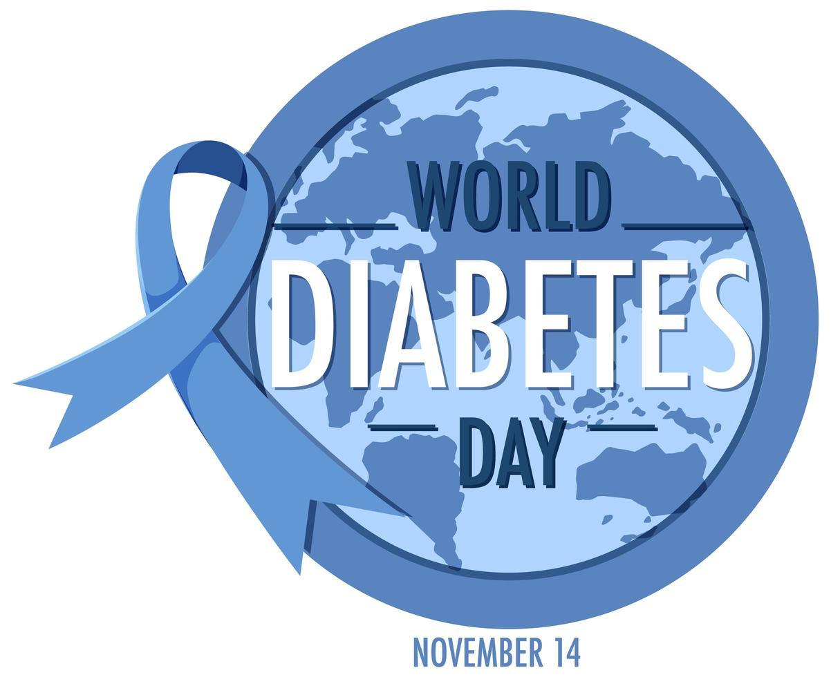 banner della giornata mondiale del diabete con nastro blu e globo vettore